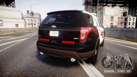 Ford Explorer 2011 Elizabeth Police [ELS] para GTA 4 traseira esquerda vista