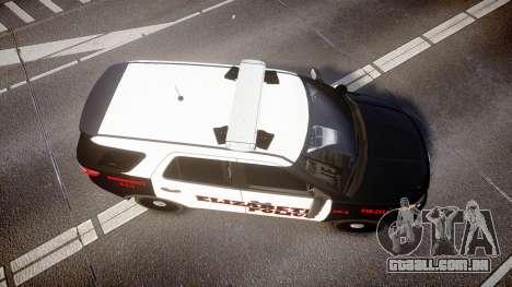 Ford Explorer 2011 Elizabeth Police [ELS] para GTA 4 vista direita