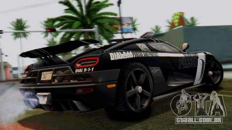 NFS Rivals Koenigsegg Agera R Enforcer para GTA San Andreas esquerda vista