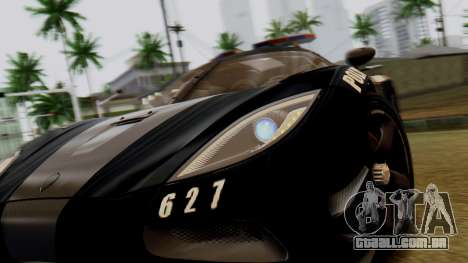 NFS Rivals Koenigsegg Agera R Enforcer para GTA San Andreas vista traseira