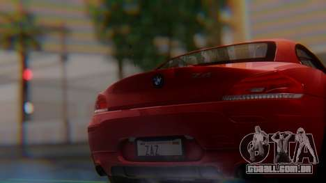 BMW Z4 sDrive35is 2011 2 Extras para GTA San Andreas vista traseira