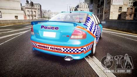 Ford Falcon BA XR8 Police [ELS] para GTA 4 traseira esquerda vista