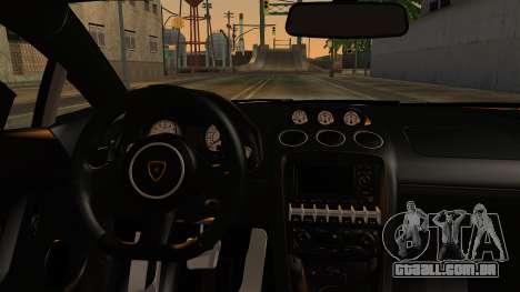 Lamborghini Gallardo Superleggera 2011 para GTA San Andreas vista traseira
