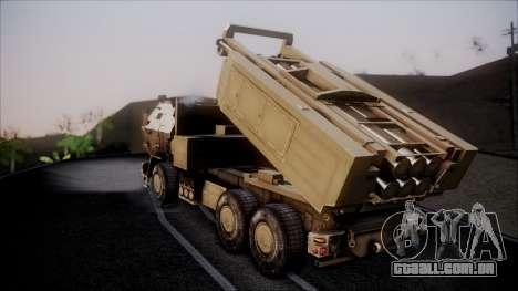 M142 HIMARS Desert Camo para GTA San Andreas esquerda vista