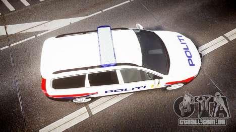 Volvo V70 2014 Norwegian Police [ELS] para GTA 4 vista direita