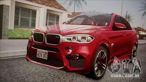 BMW X6M 2015 para GTA San Andreas vista traseira
