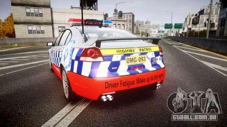 Holden Commodore SS Highway Patrol [ELS] para GTA 4 traseira esquerda vista