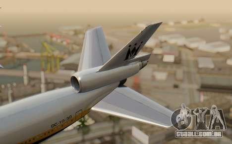 DC-10-30 Monarch Airlines para GTA San Andreas traseira esquerda vista