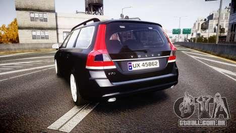 Volvo V70 2014 Unmarked Police [ELS] para GTA 4 traseira esquerda vista