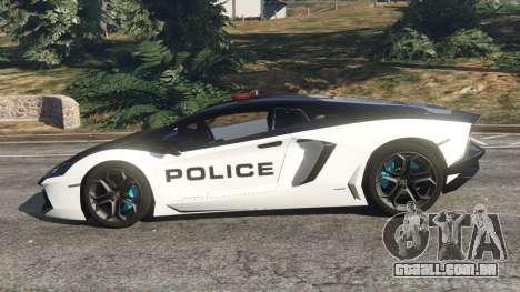 GTA 5 Lamborghini Aventador LP700-4 Police v3.5 vista lateral esquerda