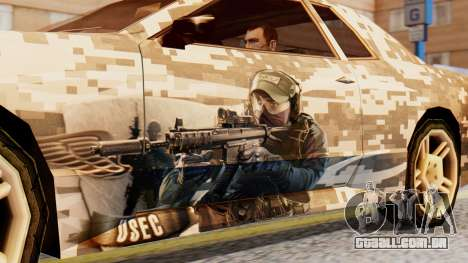Elegy Contract Wars U.S.E.C Vinyl para GTA San Andreas traseira esquerda vista