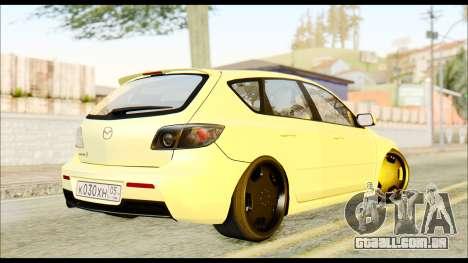 Mazdaspeed 3 Daglow v2 para GTA San Andreas traseira esquerda vista