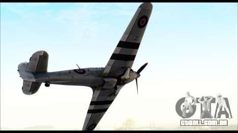 Hawker Hurricane MK IA para GTA San Andreas traseira esquerda vista