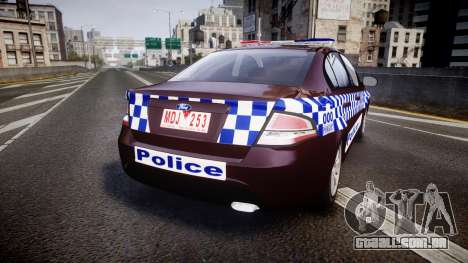 Ford Falcon FG XR6 Turbo NSW Police [ELS] v3.0 para GTA 4 traseira esquerda vista