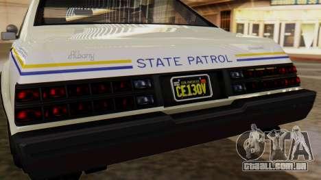 GTA 5 Albany Esperanto Police Roadcruiser para GTA San Andreas vista interior