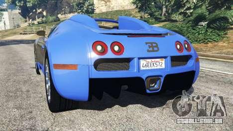 GTA 5 Bugatti Veyron Grand Sport traseira vista lateral esquerda