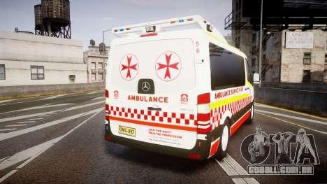 Mercedes-Benz Sprinter NSW Ambulance [ELS] para GTA 4 traseira esquerda vista