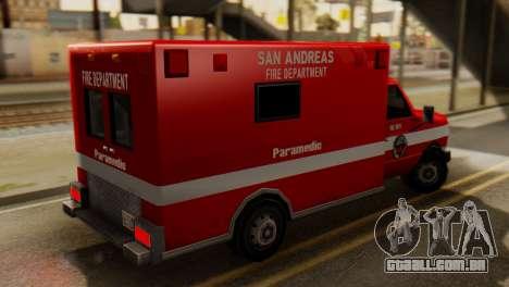 SAFD Ambulance para GTA San Andreas esquerda vista