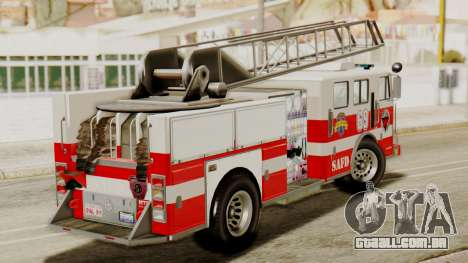 SAFD Fire Lader Truck Flat Shadow para GTA San Andreas traseira esquerda vista