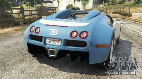 GTA 5 Bugatti Veyron Grand Sport v2.0 traseira vista lateral esquerda