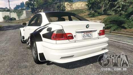 GTA 5 BMW M3 GTR E46 black on white traseira vista lateral esquerda