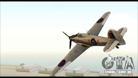 Hawker Hurricane MK IA para GTA San Andreas esquerda vista