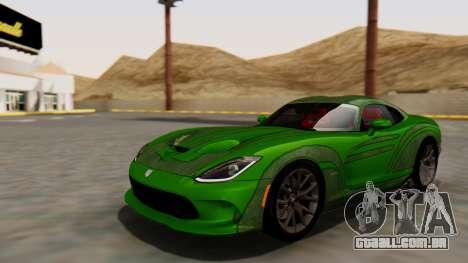 Dodge Viper SRT GTS 2013 HQLM (HQ PJ) para GTA San Andreas vista interior