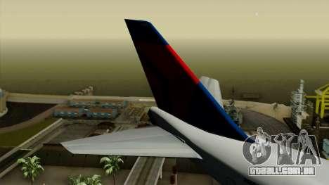 Boeing 747 Delta para GTA San Andreas traseira esquerda vista