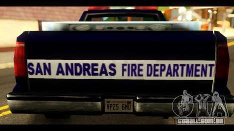 FDSA Brush Patrol Car para GTA San Andreas traseira esquerda vista