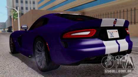 Dodge Viper SRT GTS 2013 HQLM (HQ PJ) para GTA San Andreas esquerda vista