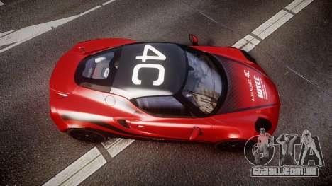 Alfa Romeo 4C 2014 WTCC Safety Car para GTA 4 vista direita