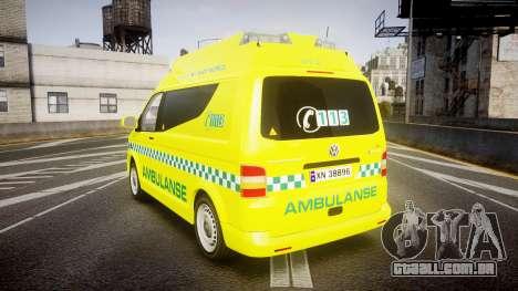 Volkswagen Transporter Norwegian Ambulance [ELS] para GTA 4 traseira esquerda vista