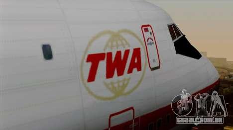 Boeing 747 TWA para GTA San Andreas vista traseira