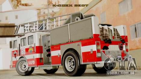 SAFD Fire Lader Truck Flat Shadow para GTA San Andreas esquerda vista