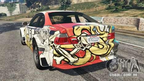GTA 5 BMW M3 GTR E46 PJ4 traseira vista lateral esquerda
