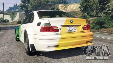 GTA 5 BMW M3 GTR E46 PJ1 traseira vista lateral esquerda