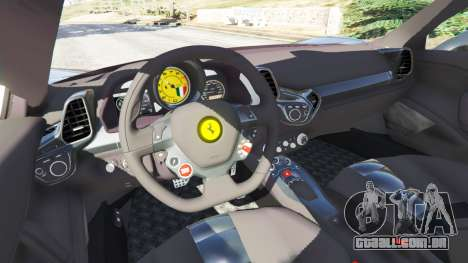 GTA 5 Ferrari 458 Italia v1.0.4 traseira direita vista lateral