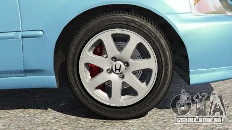 GTA 5 Honda Civic Si 1999 v1.1 traseira direita vista lateral