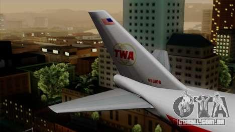Boeing 747 TWA para GTA San Andreas traseira esquerda vista