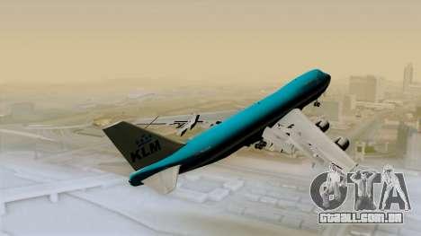 Boeing 747-200B KLM para GTA San Andreas traseira esquerda vista