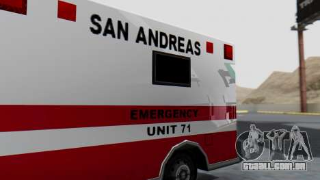 Ambulance with Lightbars para GTA San Andreas vista traseira