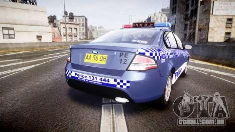 Ford Falcon FG XR6 Turbo NSW Police [ELS] para GTA 4 traseira esquerda vista
