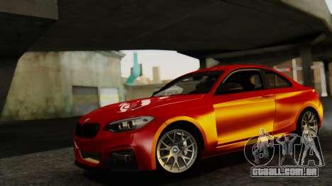 BMW M235i F22 Sport 2014 para GTA San Andreas traseira esquerda vista