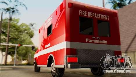 SAFD Ambulance para GTA San Andreas traseira esquerda vista
