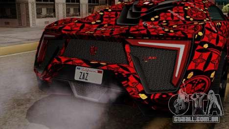 Lykan Hypersport Batik para GTA San Andreas vista traseira