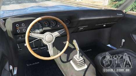 GTA 5 Plymouth Barracuda 1970 traseira direita vista lateral