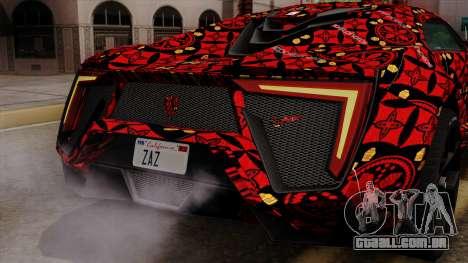 Lykan Hypersport Batik para GTA San Andreas vista inferior