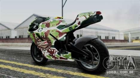 Bati Wayang Camo Motorcycle para GTA San Andreas traseira esquerda vista