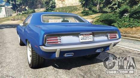 GTA 5 Plymouth Barracuda 1970 traseira vista lateral esquerda
