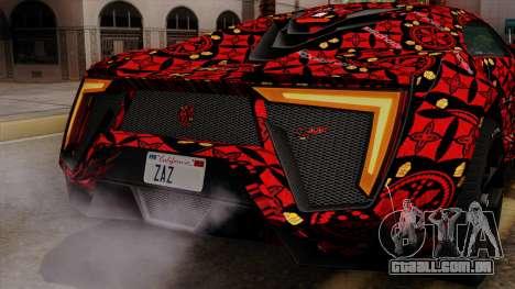 Lykan Hypersport Batik para GTA San Andreas interior